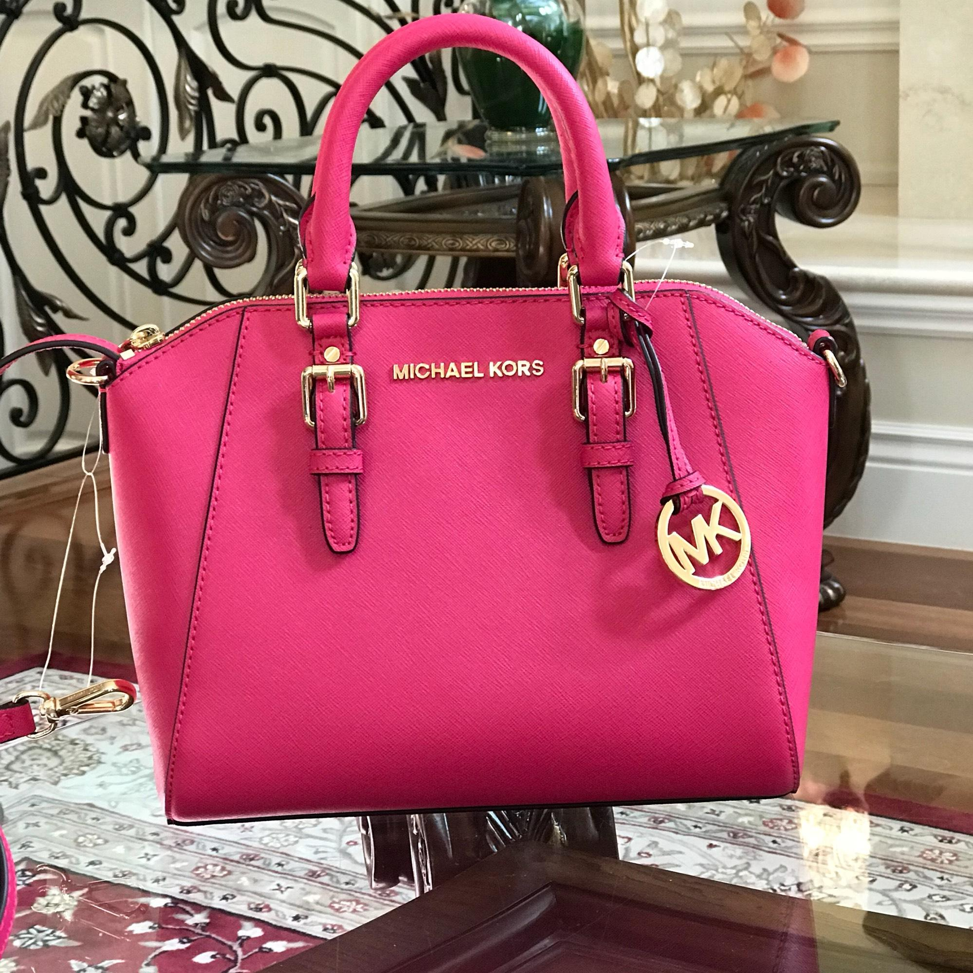 2acd54189e23 ... clearance michael kors ciara leather spring gift satchel in ultra pink  75d81 6f30f