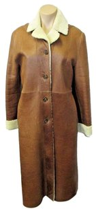Michael Kors Italy Long Leather W Shearling Lapels Cuffs Brown & cream Jacket