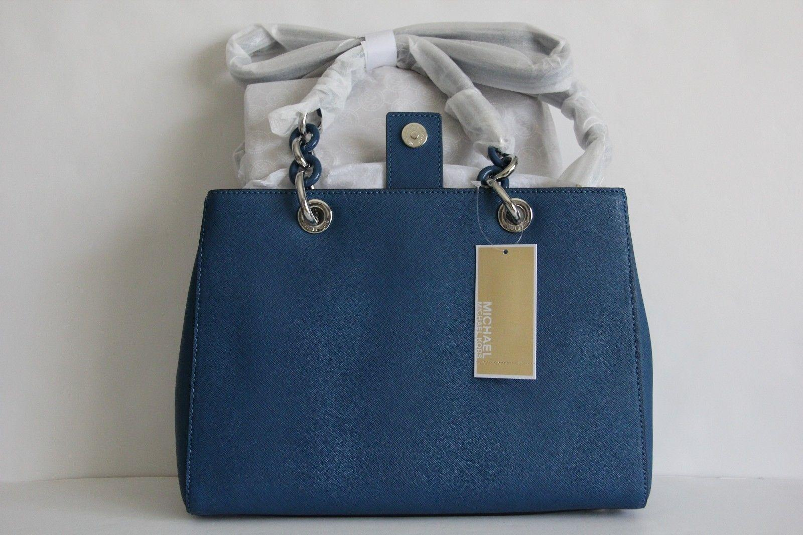 f4afbb85eaa5 ... sweden michael kors cynthia medium saffiano leather satchel in steel  blue . 268b0 da75a