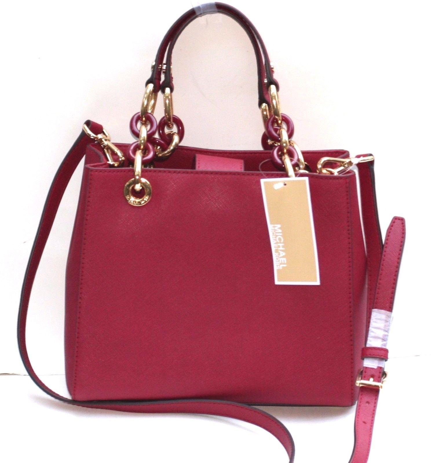 0cc2cb6fd06b ... spain michael kors small cynthia north south saffiano leather satchel  in red cherry.