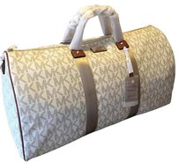 Michael Kors Duffle Pvc Signature Mk Weekender Travel Mk Vanilla Travel Bag