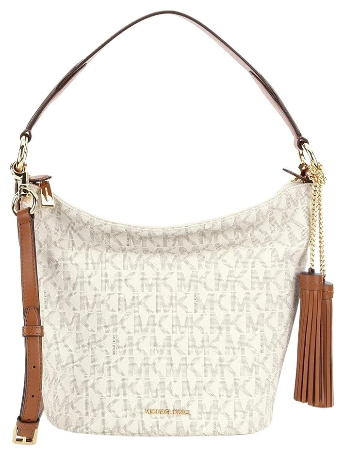 5e16b31dffe9 Michael Kors Vanilla Signature Pvc   Leather Elana Medium Convertible  Shoulder Bag - Tradesy