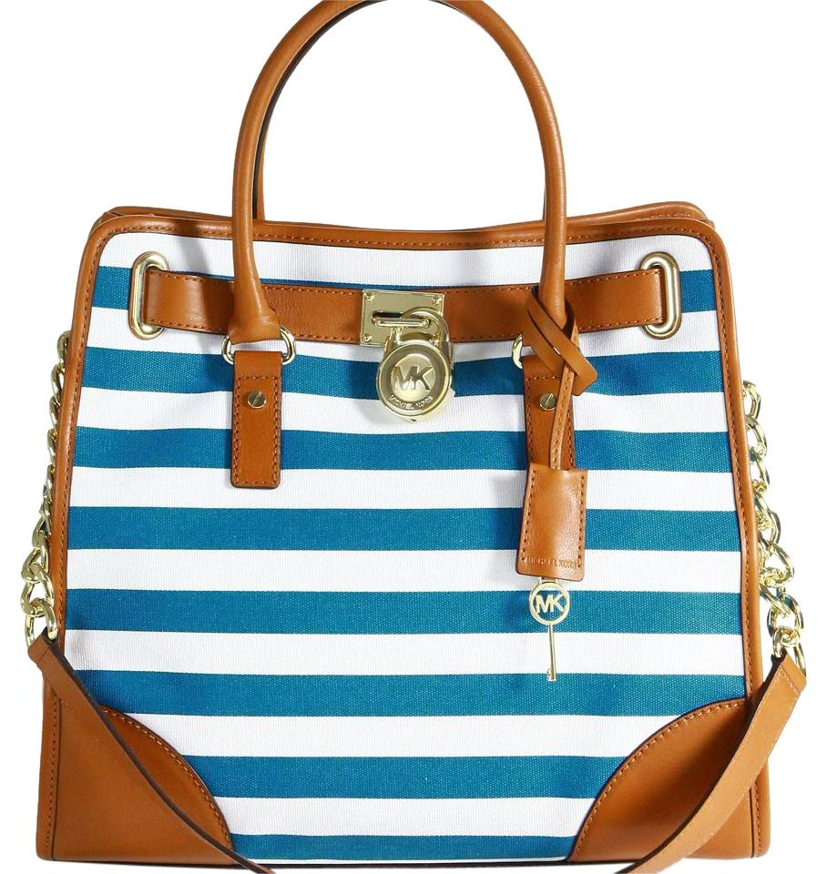 Michael Kors Blue Stripe Hamilton Handbag Shoulder Bag on Sale, 26 ...