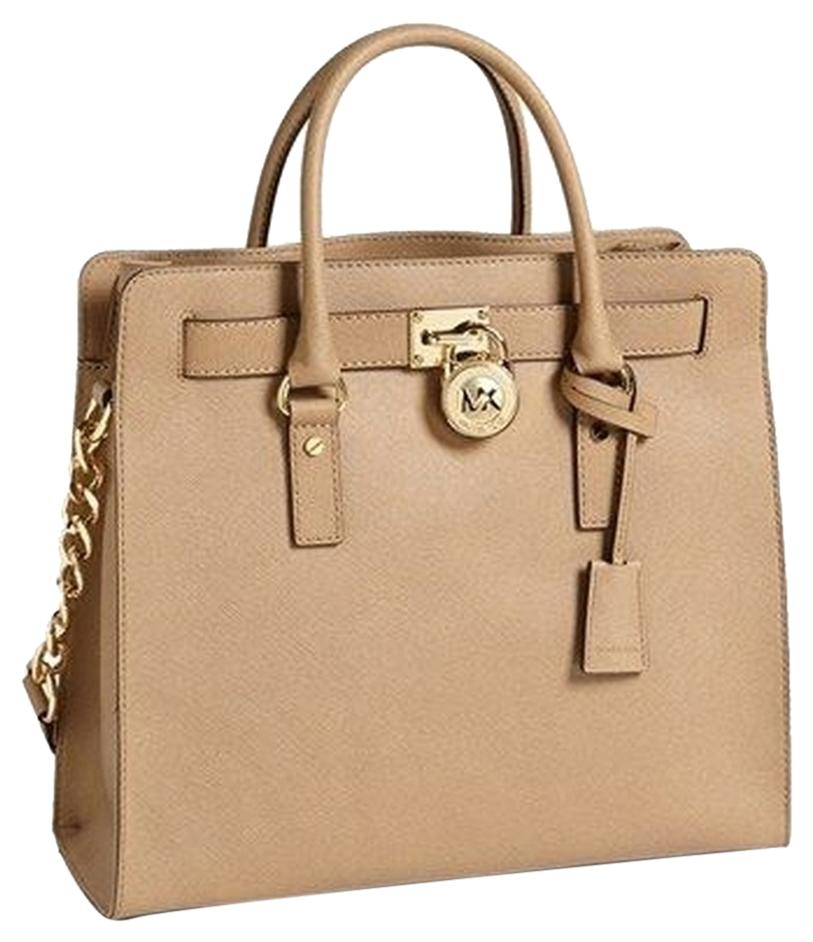792cc32a3c85 ... get michael kors lock and key saffiano leather tote in tan brown khaki gold  tone hardware