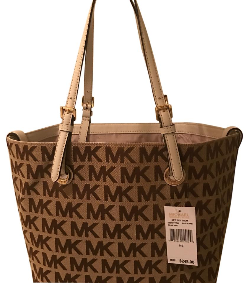 michael kors   jet set large with mk signature logo brown tote bag on tradesy