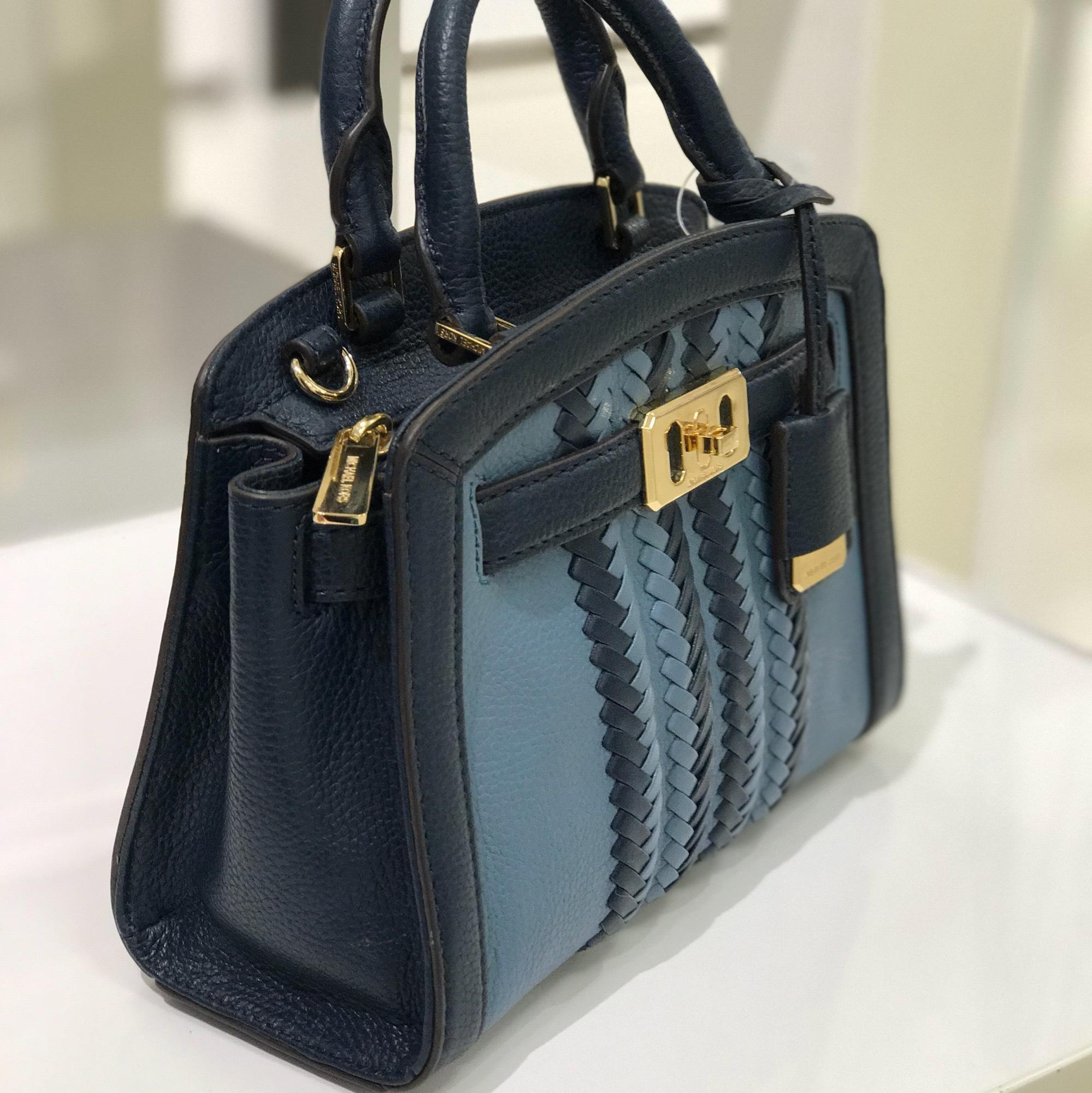252da089e50f9b ... promo code for michael kors karson mini satchel denim navy leather  cross body bag tradesy 2d4f2