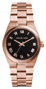Michael Kors Ladies Channings Black Dial Rose Gold-tone Tonneau Watch MK5937