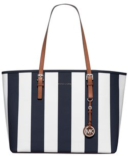 Michael Kors Leather White Blue Tan Silver Tote in Navy/White
