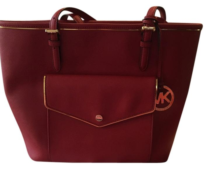 fa627a3cde6d low price michael kors leather tote in red cherry caa82 7e242