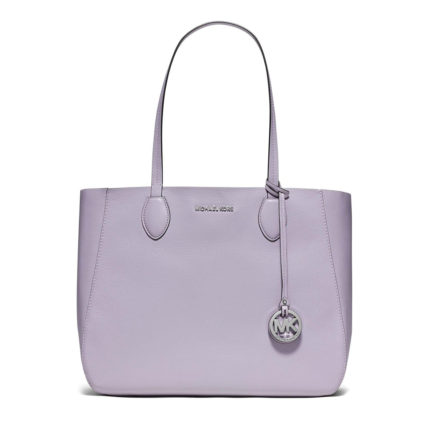 6190e64c9701 ... discount michael kors mae east west large leather tote in lilac silver  32a48 20598