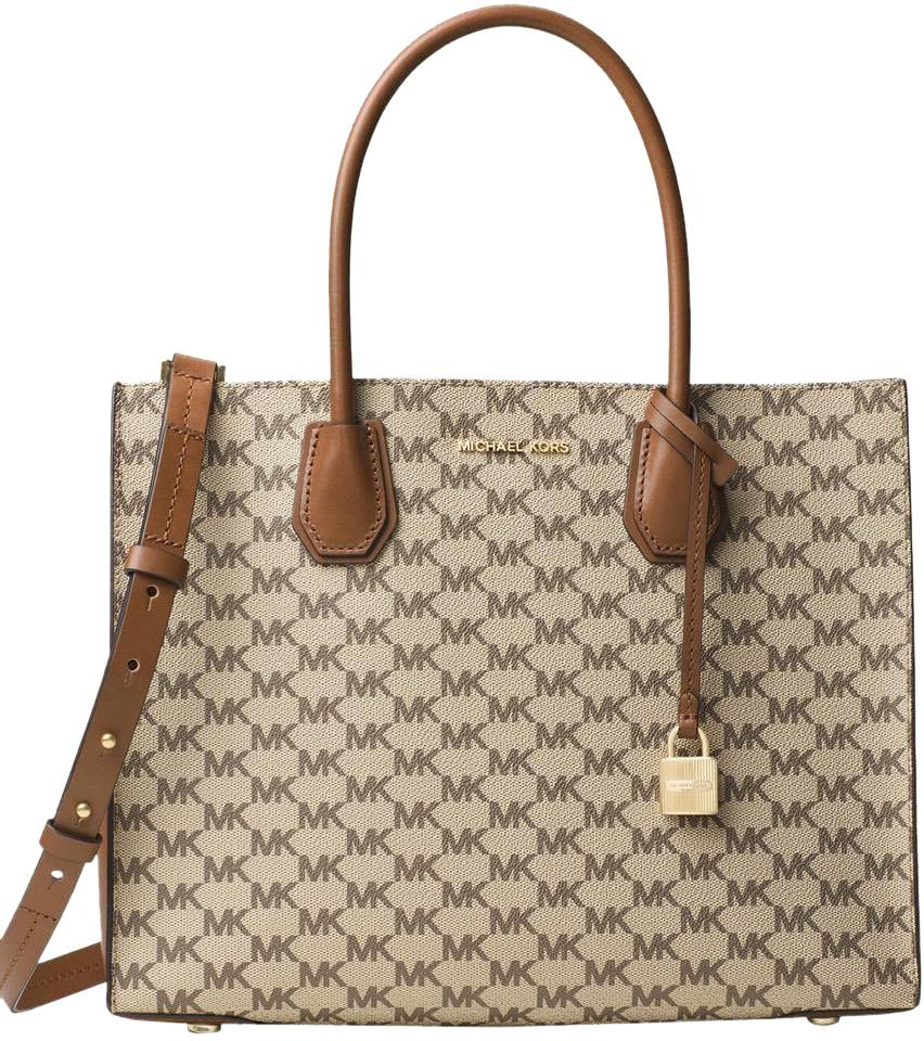 Michael Kors Heritage Signature 30f6am9t3v 190049388914 Mercer Large Purse  Tote in Natural / Luggage ...