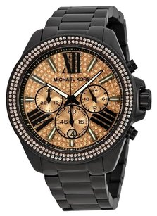 Michael Kors MICHAEL KORS Everest Rose Dial Black Ion-plated Ladies Watch