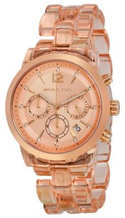 Michael Kors Michael Kors MK6203 Audrina Chronograph Rose Gold Tone Acetate Watch +MK box