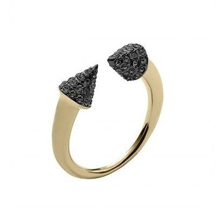 Michael Kors Michael Kors Mkj4050 Gold Tone Motif Arrow Ring W Black Crystal Pave