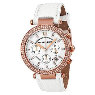 Michael Kors Michael Kors Parker Chronograph Rose Gold-tone White Leather Ladies Watch