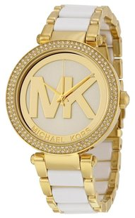 Michael Kors MICHAEL KORS Parker Gold-Tone and White Acetate Ladies Watch MK6313