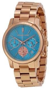 Michael Kors Michael Kors Runway Blue Dial Rose Gold-plated Ladies Quartz Watch