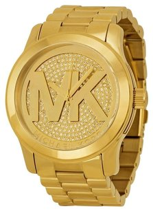 Michael Kors MICHAEL KORS Runway Gold Dial Crystal Pave Gold-tone Ladies Watch