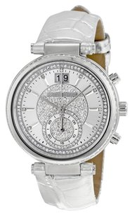 Michael Kors MICHAEL KORS Sawyer Silver Pave Dial Leather Ladies Watch