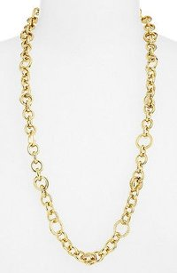 Michael Kors Michael Kors Statement Brilliance Link Crystal Gold Tone Long Chain Necklace