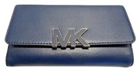 Michael Kors Michael Kors Florence Billfold Wallet Clutch Leather Navy Blue Loaded
