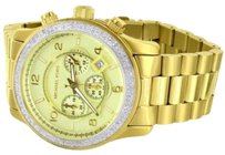 Michael Kors Micheal Kors Gold Tone Mm Stainless Steel Watch Custom Diamond 1.5 Ct