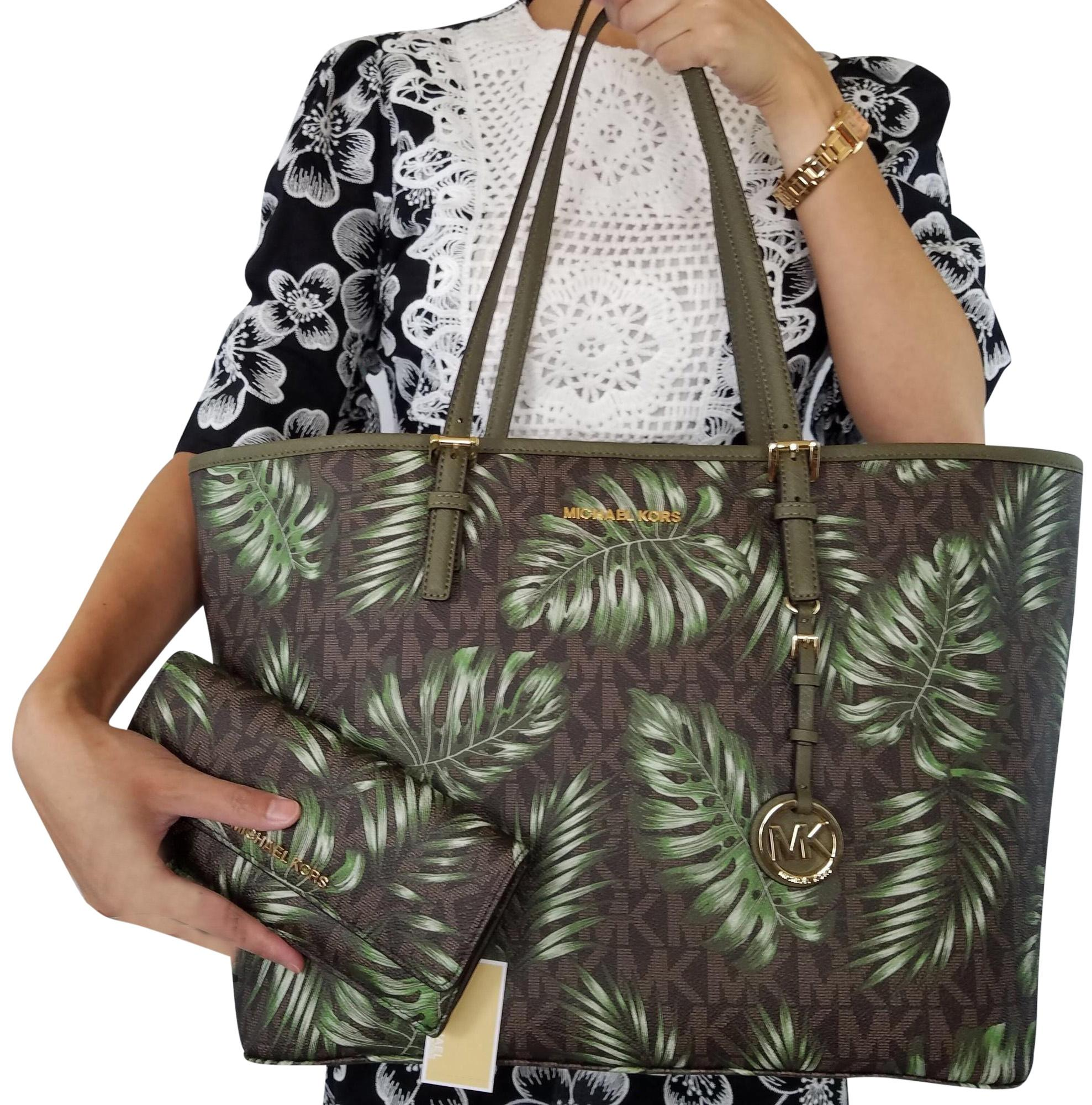 4ac1392bf045c2 ... jet set travel large trifold wallet blossom pink floral f1b72 41b91  sweden michael kors tote in brown olive 0deeb 1c84b ...