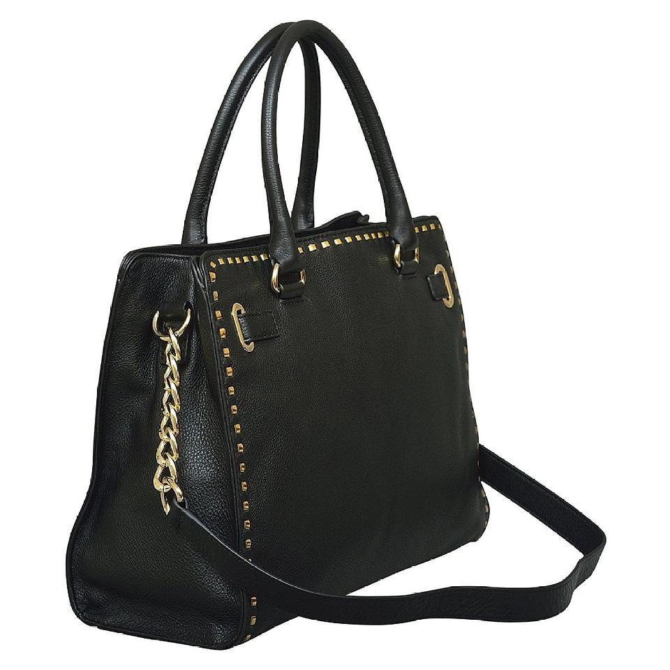 e2126f47dac4 Michael Kors Black Gold Hardware Leather Hamilton Large Satchel Chained  Whipped Stitched New with Tags