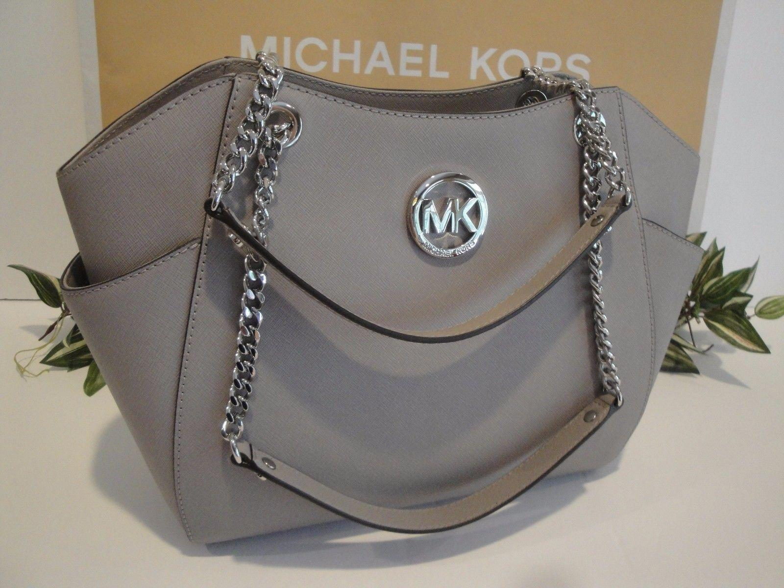 34513cde1956f4 coupon for michael kors mk tote mk chain tote two straps shoulder bag e39c2  7b2a8