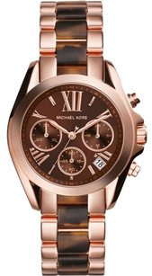 Michael Kors NEW MICHAEL KORS BRADSHAW ROSE GOLD TORTOISE CHRONO LADIES WOMEN'S WATCH