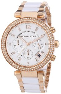Michael Kors New Women Parker Rose Gold White Acetate Watch
