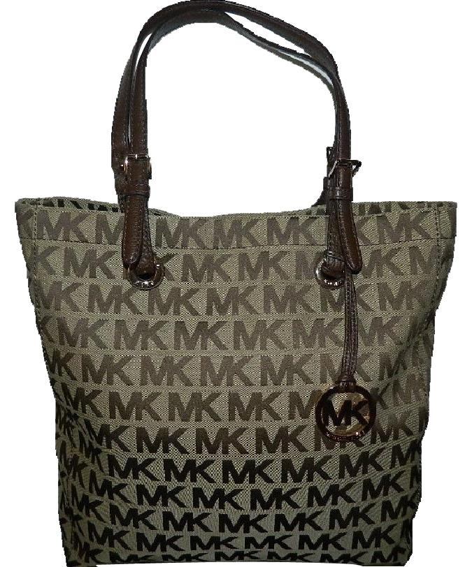 be3c5458c0e571 ... cheap michael kors jet set mk tote in khakilight brownmahoganygold .  f046f 7f135