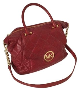 Michael Kors Quilted Satchel in Red