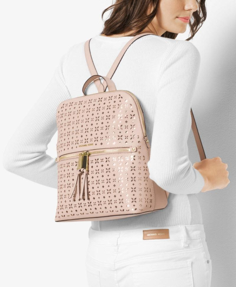 2820a3e2d7fd5c ... coupon code for michael kors rhea medium slim floral perforated optic white  leather backpack tradesy ede62