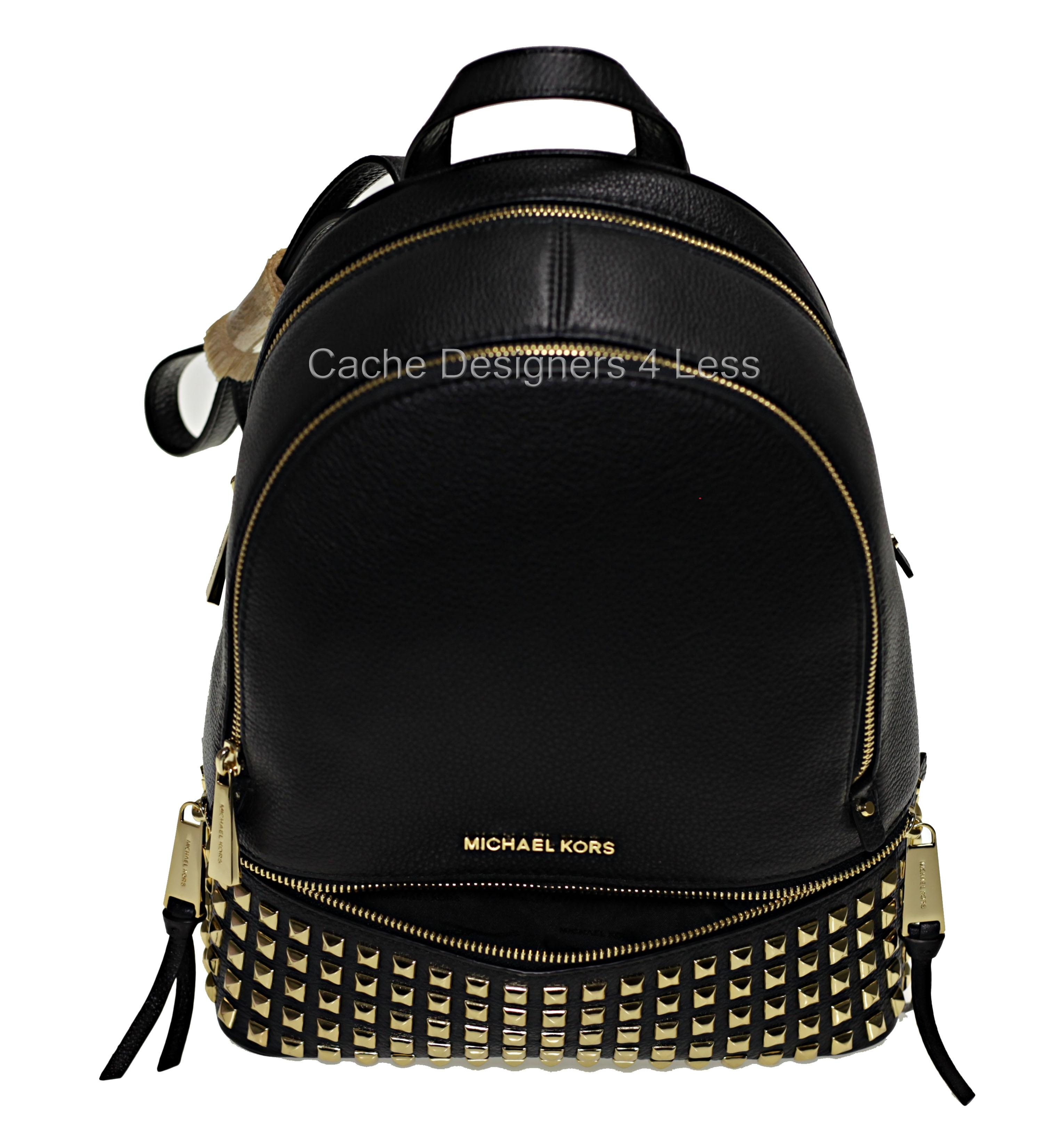 0c22f443a6ce ... top quality michael kors rhea zip pyramid studded medium black grain  leather backpack tradesy 92b55 d5a79