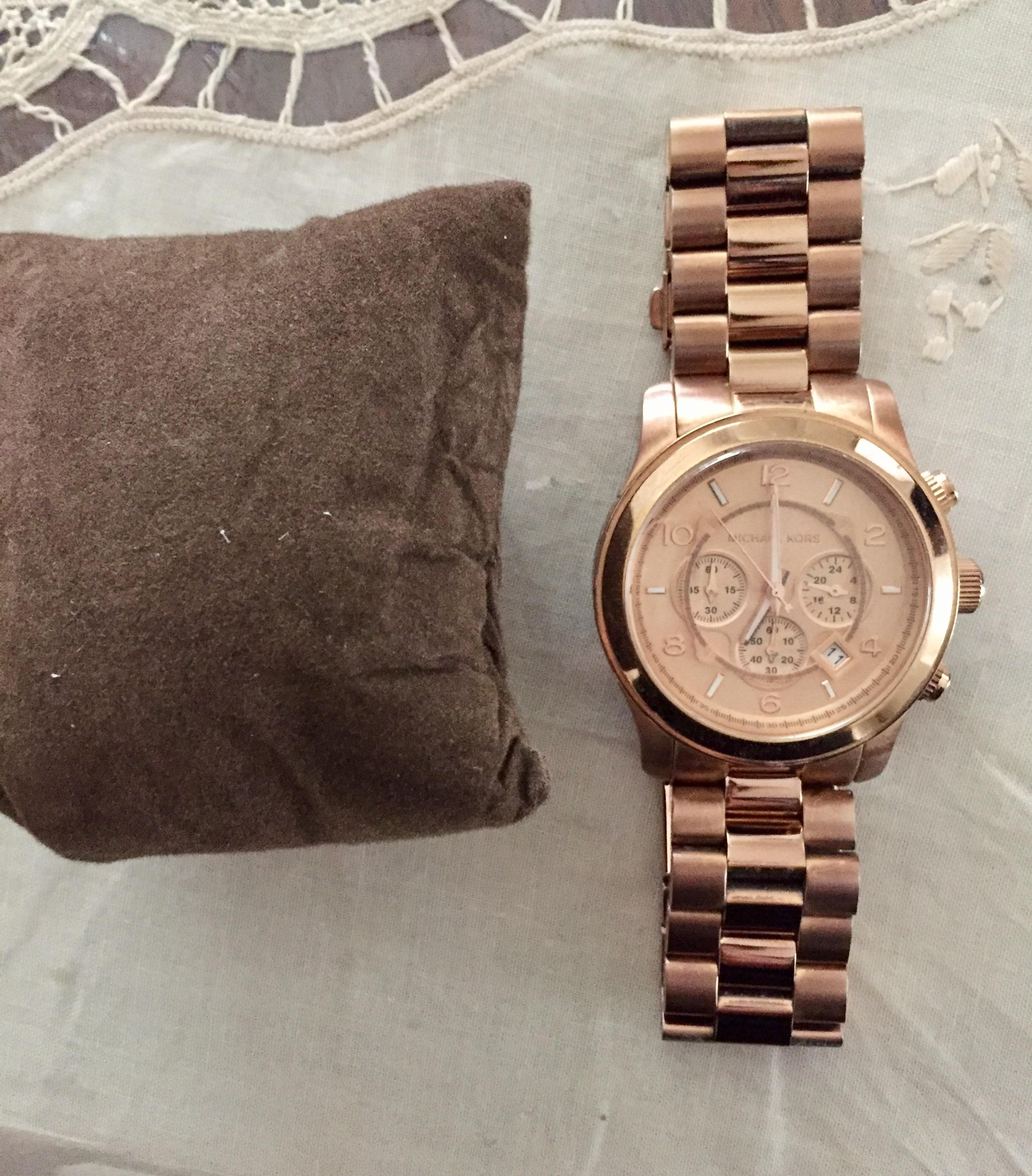 Michael Kors Rose Gold 'large Runway' Plated 45mm Watch 61% off retail