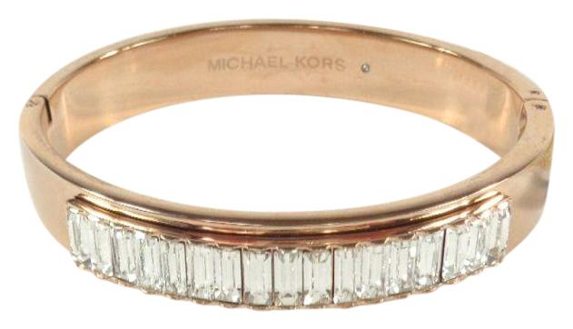 Michael Kors Rose Gold Mkj6232791 Baguette Crystals Bangle Bracelet