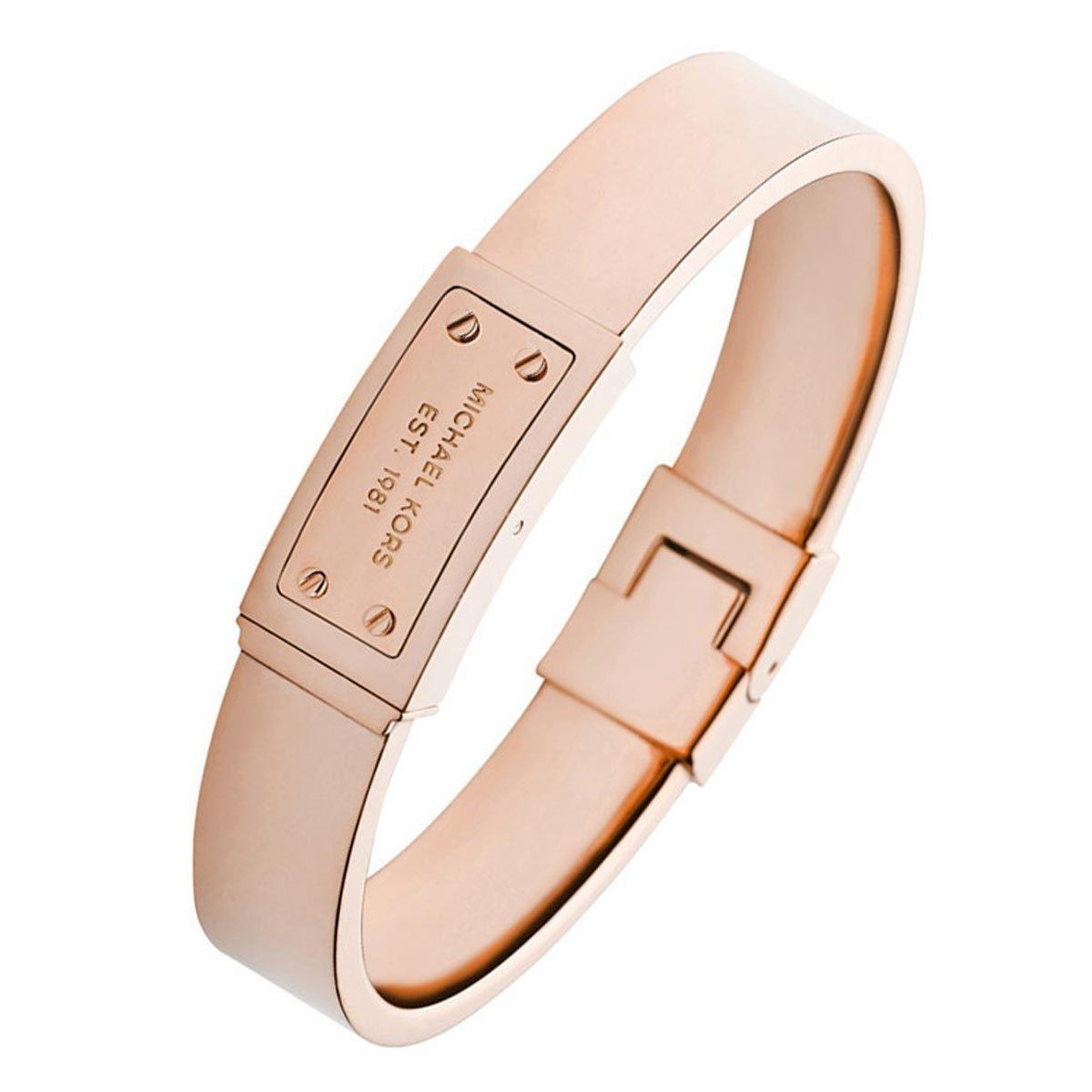 Michael Kors Rosegold Tone Logo Plaque Bangle Mkj2401791 Bracelet