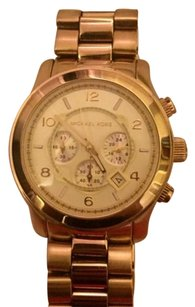 Michael Kors Runway MK8077 Oversized Gold Tone Stainless Chronograph Watch