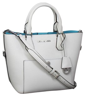 Michael Kors Saffiano Leather Tote in OPTIC WHITE/AQUAMARINE