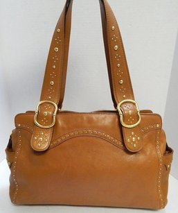 Michael Kors Cognac Leather Gold Studded Shoulder Bag