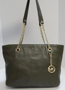 Michael Kors Pebbled Leather Chain Tote Shoulder Bag