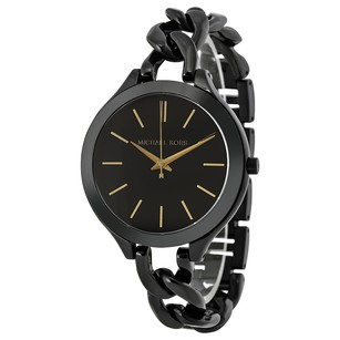 Michael Kors Slim Runway Black With Gold-Tone Stick Markers Women's Watch