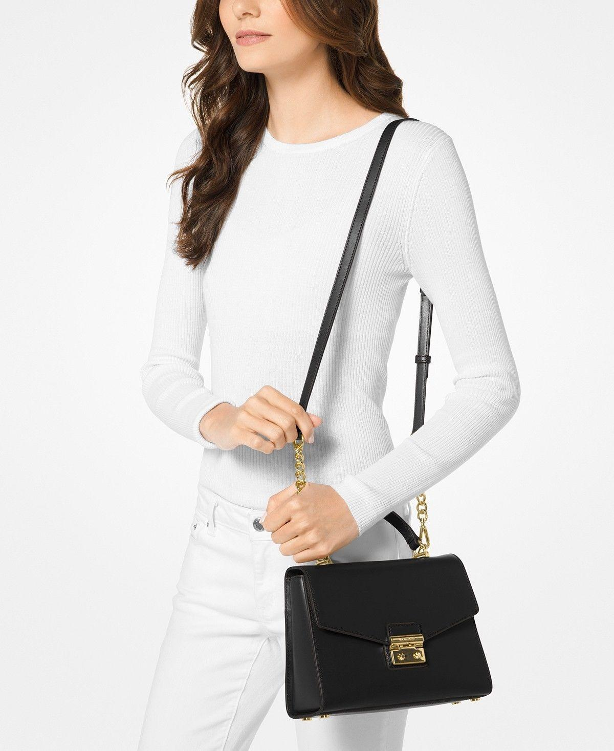 ee4986ee67a3 ... top quality michael kors sloan medium black leather satchel tradesy  de5ba 0df1c
