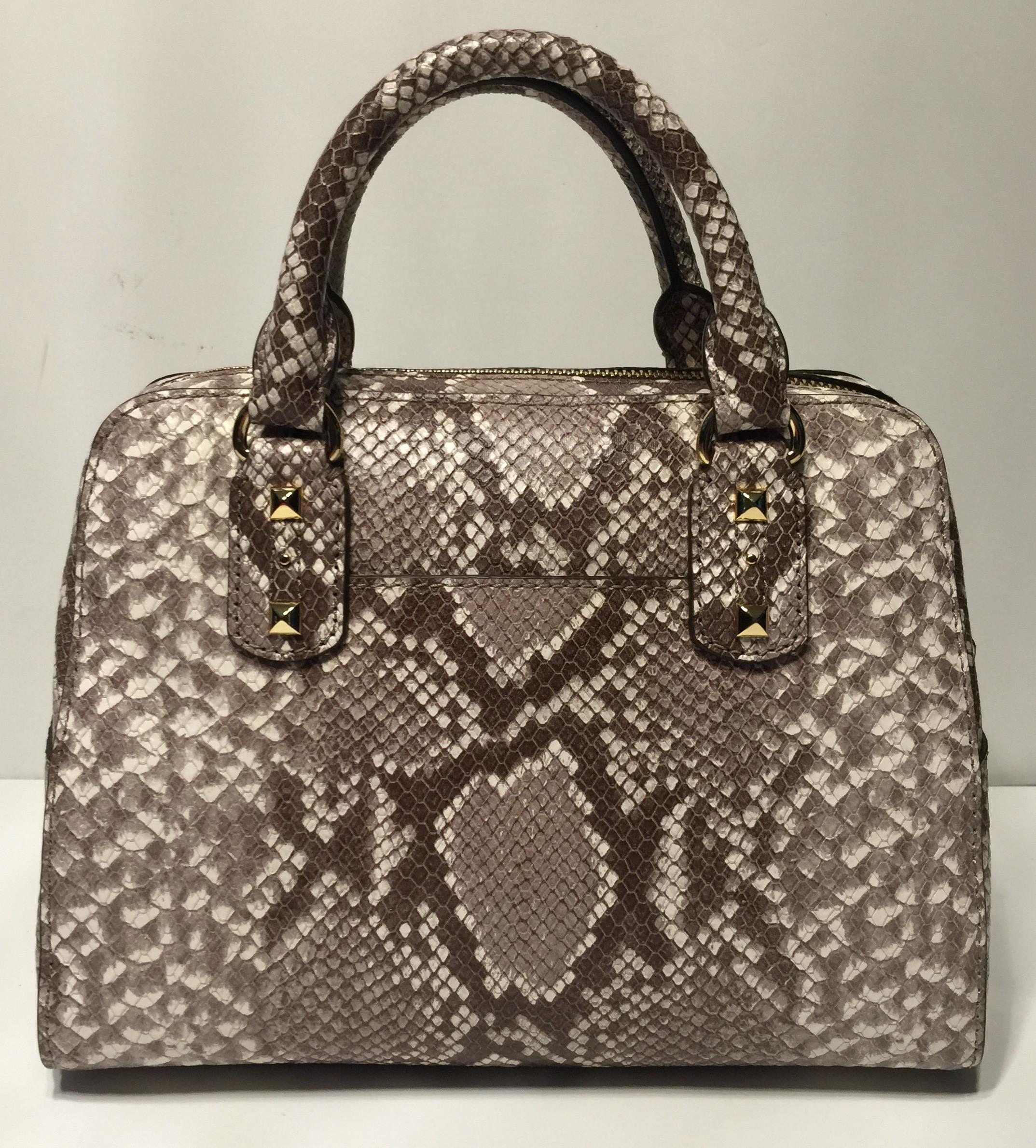 71507b4f7a05 ... best price michael kors stud small handbag dark sand python saffiano  leather satchel tradesy 0443a c333a