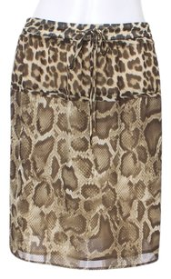 Michael Kors Snakeskin New With Tags Drawstring Elastic Animal Print Skirt Brown