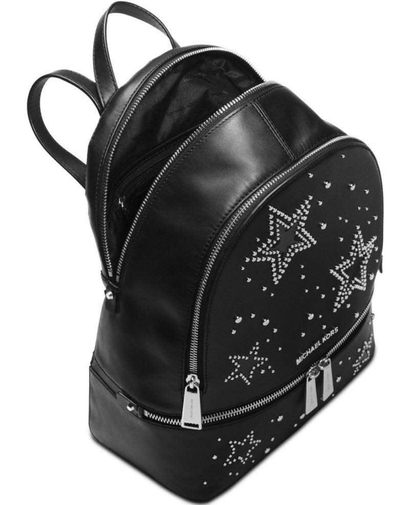 0a554695cd45 ... sale michael kors star studded rhea black silver leather backpack  tradesy 5ab1b 8618f