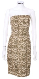 Michael Kors Strapless Chevron Tribal Cocktail Gold Safari Zipper Dress
