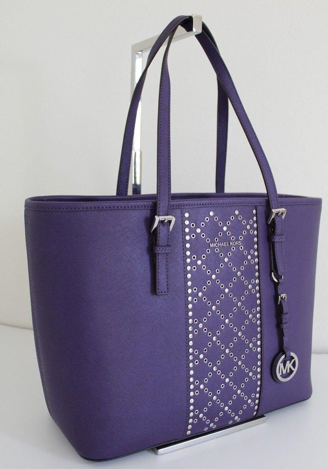 93e61b7f90ec ... inexpensive michael kors studded jet set travel large top zip purple  iris silver leather tote tradesy