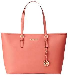 Michael Kors Women Handbag Travel Leather Tote in Pink Grapefruit
